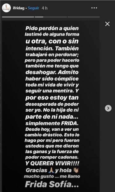 Tras despotricar de todos, Frida Sofía lloró, se disculpó y prometió ser mejor con su familiaTras despotricar de todos, Frida Sofía lloró, se disculpó y prometió ser mejor con su familia