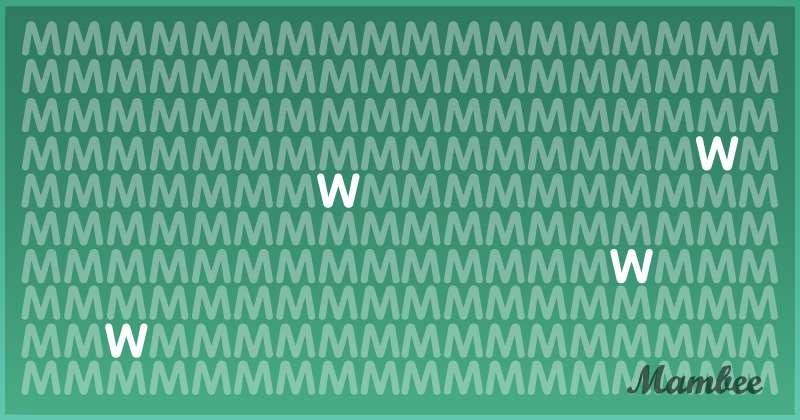 """Esta formación de letras """"M"""" parece perfecta, pero algunas están de cabeza: ¿podrías señalarlas?"""