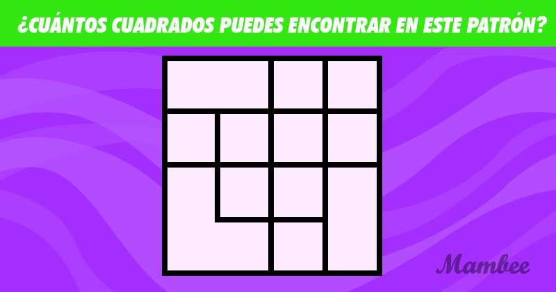 Todo se trata de enfoque y atención: ¿cuántos cuadrados se encuentran escondidos en este patrón?