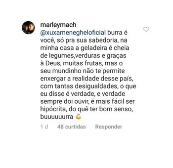 Resposta de uma seguidora para Xuxa sobre veganismo