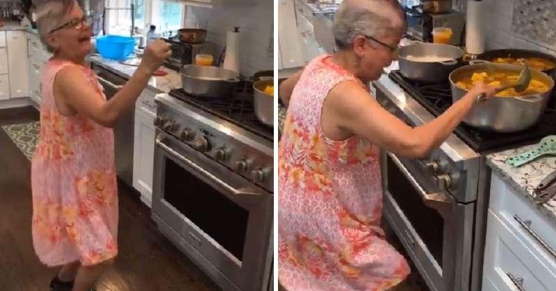 Зажигательный танец бабушки на кухне покорил не только семью, но и весь Интернет