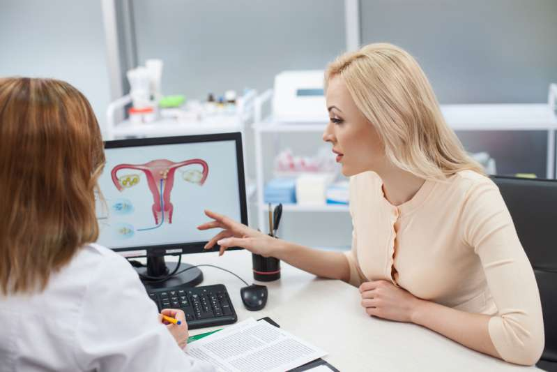 Woman consulting with gynecologist