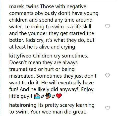 Pink répond aux critiques après avoir posté une vidéo de son fils en pleurs durant sa première leçon de natation
