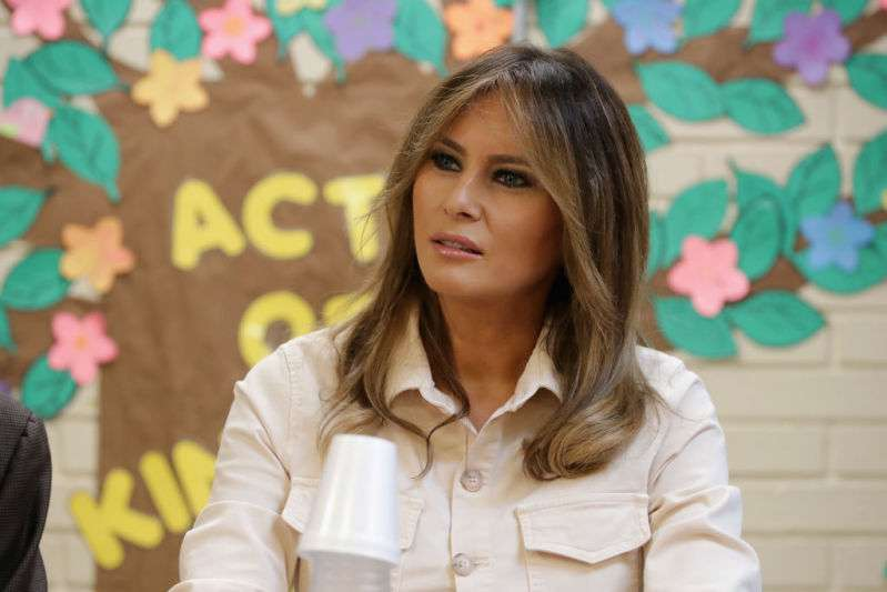 Melania Trump Looks Casual Yet Strikingly Elegant In A Gorgeous Denim Button-Up Shirt Top And Beige Pants At CADCA