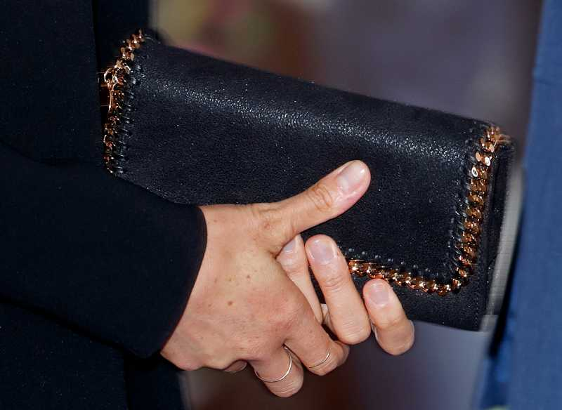 Meghan, Duchess of Sussex (handbag detail) attends the WellChild awards at the Royal Lancaster Hotel
