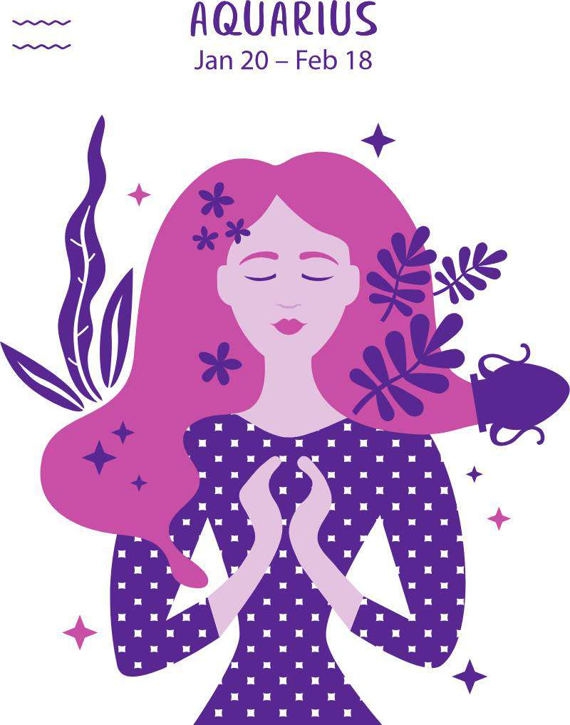 Cure For Laziness For Each Sign Of The Zodiac. No One Will Stay Idle!Aquarius zodiac sign. Girl vector illustration.