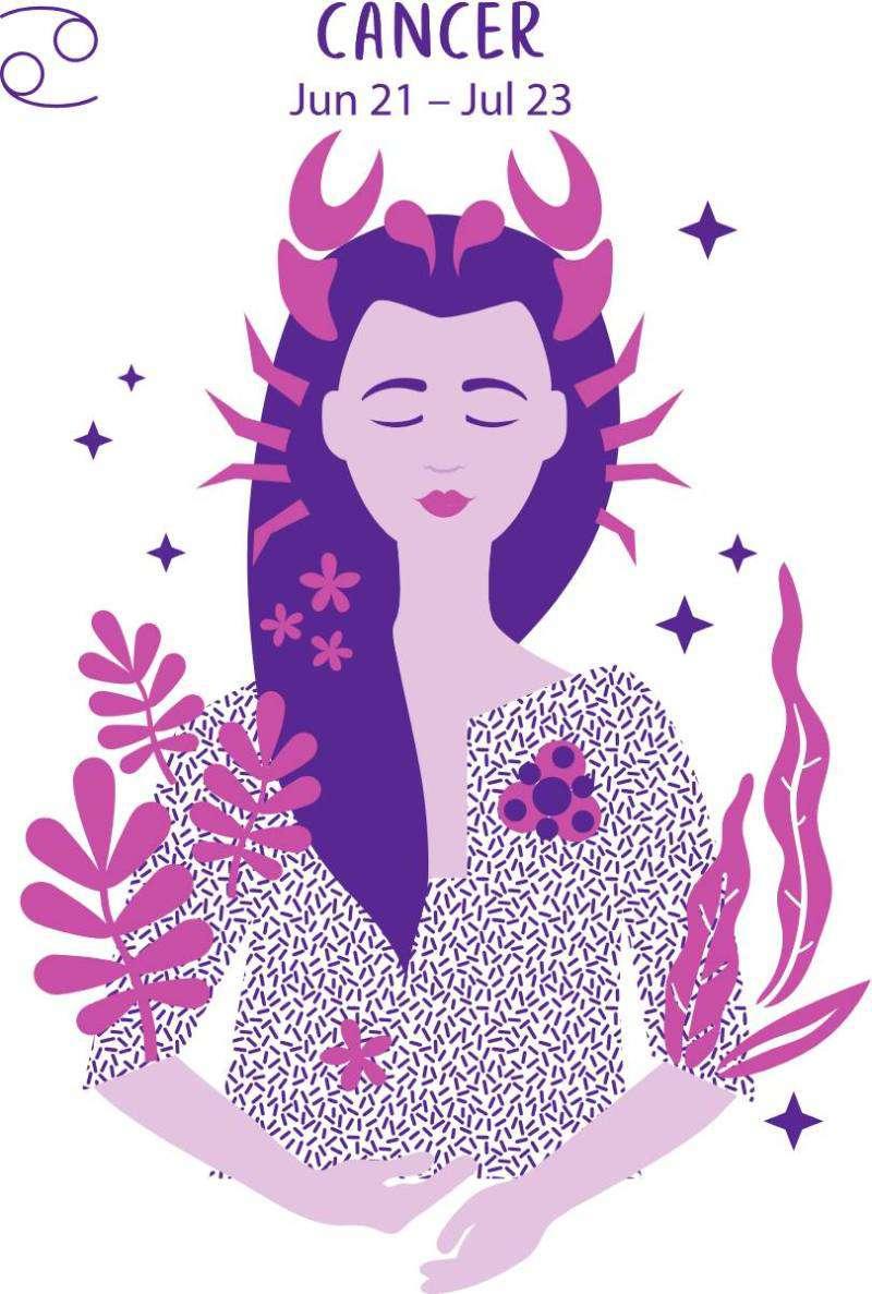 За какого мужчину не стоит выходить замуж, исходя из вашего знака зодиака?Cancer zodiac sign. Girl vector illustration.