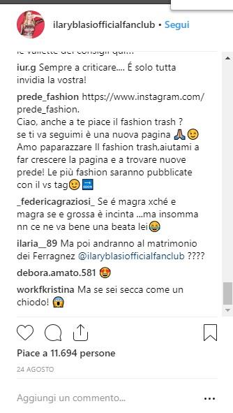 Ilary Blasi instagram comment