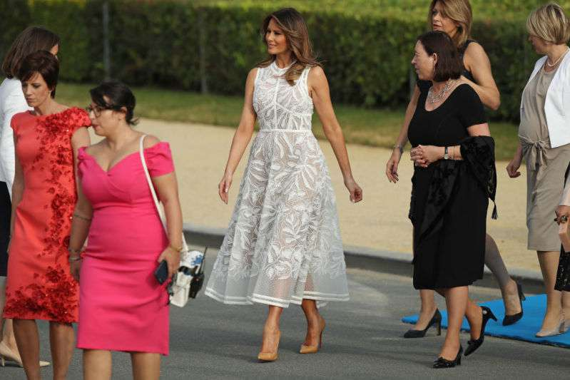 Curtain Or Stylish Dress? Melania Trump Appeared In Public Wearing A Translucent Lacy Dress