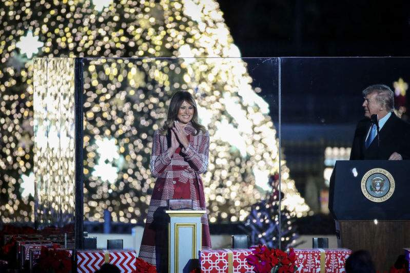 Queen Of Christmas: Melania Trump Takes Fans' Breath Away In Majestic Red-And-White Gown At Christmas Tree LightingQueen Of Christmas: Melania Trump Takes Fans' Breath Away In Majestic Red-And-White Gown At Christmas Tree LightingQueen Of Christmas: Melania Trump Takes Fans' Breath Away In Majestic Red-And-White Gown At Christmas Tree Lighting