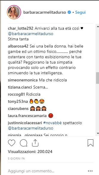 Barbara D'Urso instagram comment