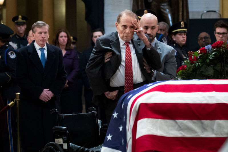 95-Year-Old Former Senator Bob Dole Stands Up From His Wheelchair To Salute Fellow WWII Hero George HW BushBob Dole