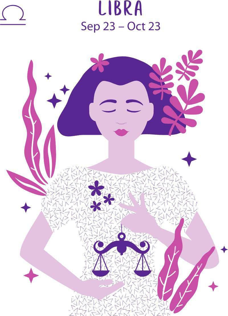 За какого мужчину не стоит выходить замуж, исходя из вашего знака зодиака?Libra zodiac sign. Girl vector illustration.