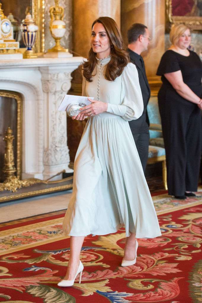 A Lover Of Conservative Styles: Kate Middleton Seen Rocking A Mint-Green Dress Similar To Her Former Style For A Ceremony At Buckingham Palace
