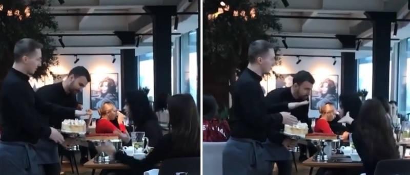 Il cliente ha sempre ragione? In un ristorante di lusso, cameriere tira una torta in faccia ad un cliente maleducato (video)Il cliente ha sempre ragione? In un ristorante di lusso, cameriere tira una torta in faccia ad un cliente maleducato (video)