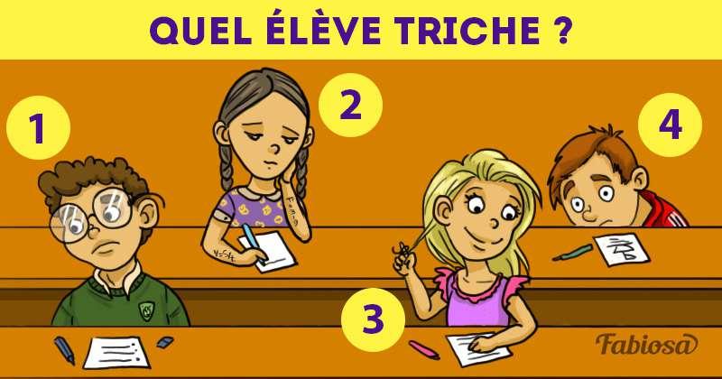 Arriverez-vous à déterminer lequel de ces étudiants est occupé à tricher à l'examen ?
