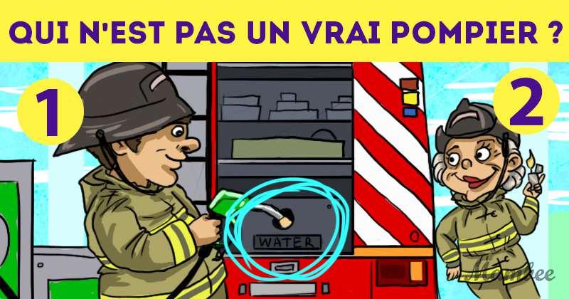 Qui est l'intrus ? Laquelle de ces deux personnes n'est pas un vrai pompier ?Qui est l'intrus ? Laquelle de ces deux personnes n'est pas un vrai pompier ?