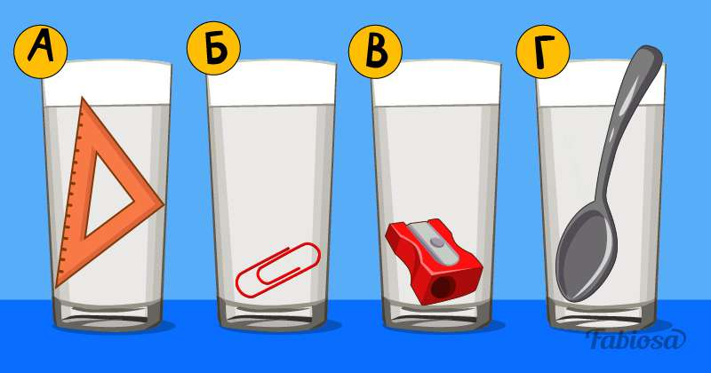 Напрягая извилины и вспоминая уроки физики, можно решить эту логическую задачу: в каком стакане больше воды?