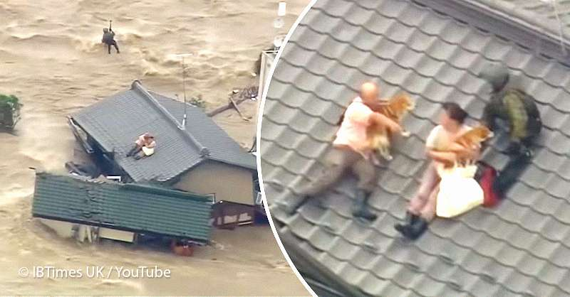 Couple Trapped On A Roof Due To A Dangerous Flood Refused