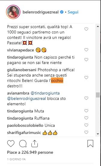 Belen Rodriguez e l'occhio destro deformato: la showgirl criticata per l'uso eccessivo del Photoshop