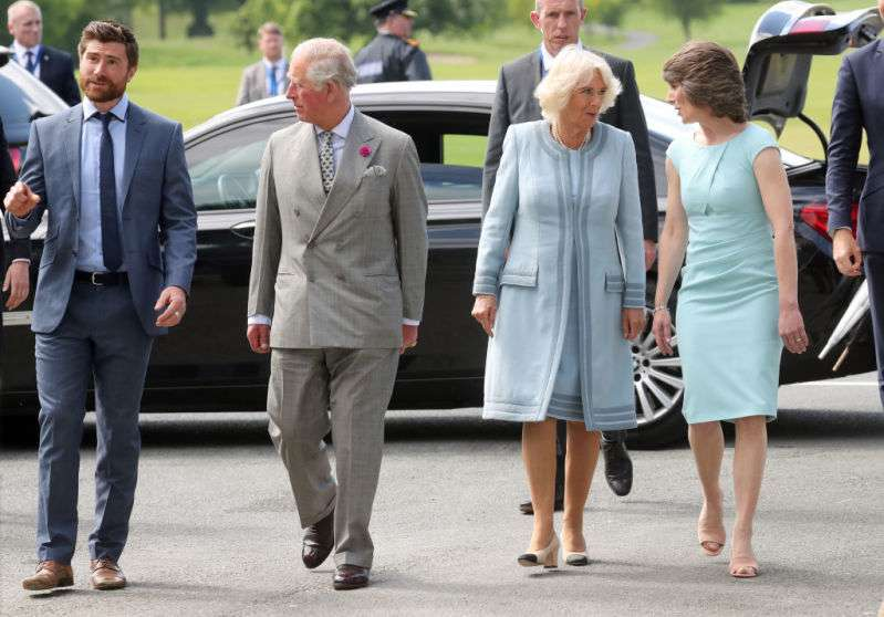 Like A Star! Duchess Camilla Turns Heads In A Sky Blue Coat Dress With A Massive Pearl Necklace During A Royal Tour In Ireland
