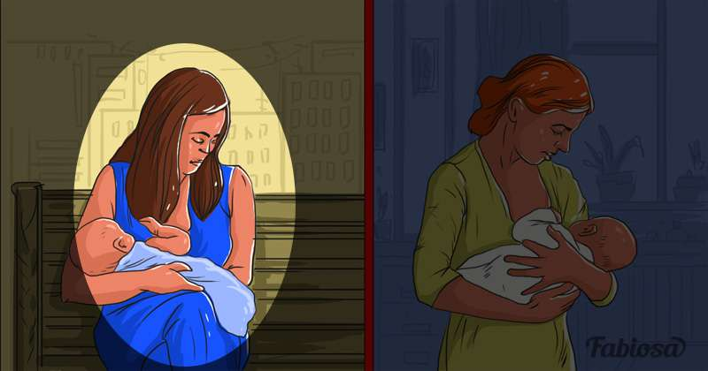 Enligt dig, vilken av dessa två kvinnor drabbas av postpartum depression och vilken av dessa två kvinnor tror du lider av postpartum depression?