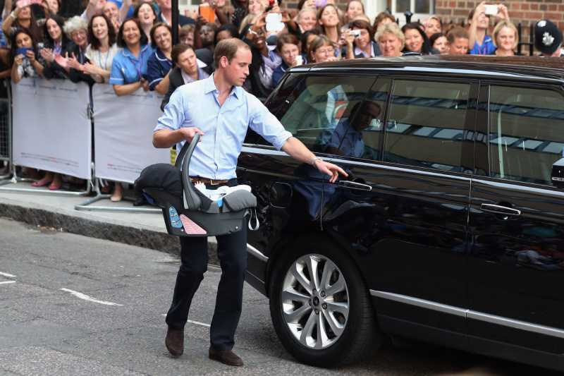 Prince William, Duke of Cambridge leaves the Lindo Wing of St Mary's Hospital with his newborn son on July 23, 2013