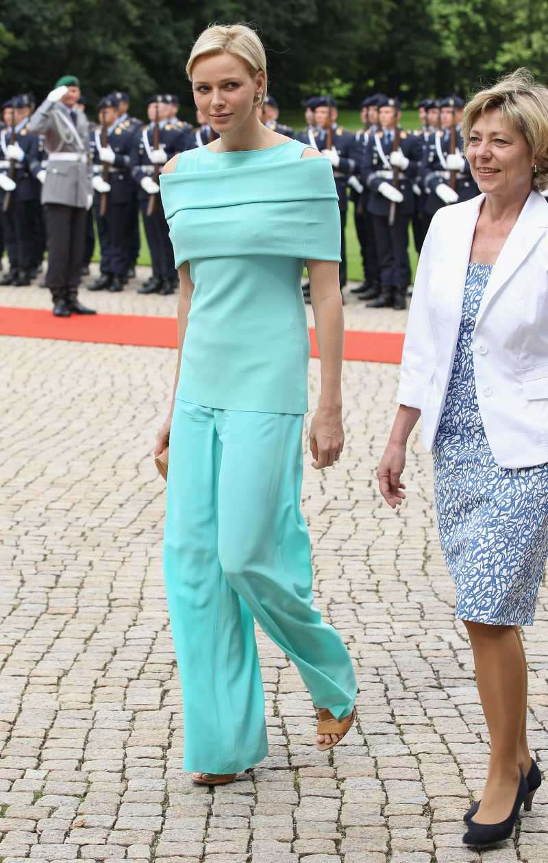 Princess Charlene of Monaco upon the arrival of the Monaco royal couple at Schloss Bellevue Palace