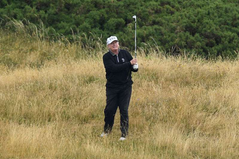 President Trump playing golf in Virginia, U.S. President golfing