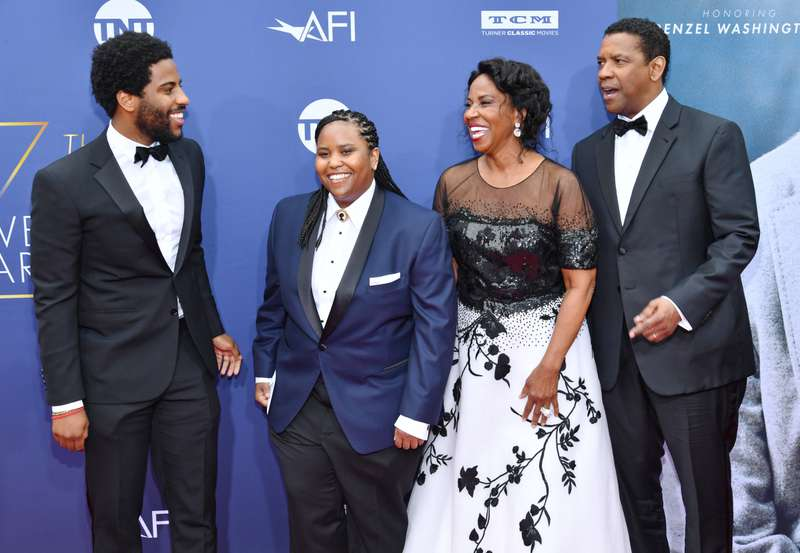 Dapper Denzel Washington Makes A Very Rare Appearance With His Wife Of 35 Years Pauletta And Two Of Their Kids At AFI Awards