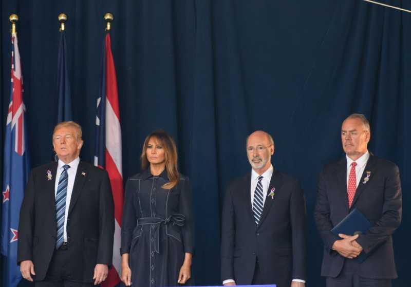 President Donald J. Trump, Melania at the Flight 93 National Memorial commemorating