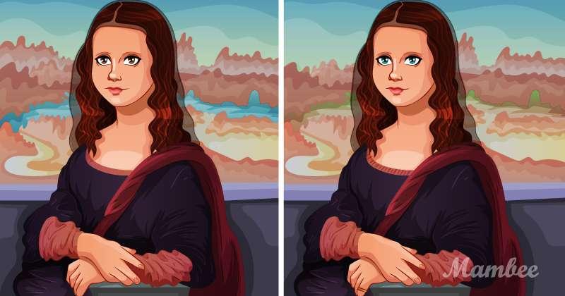 Hay 5 diferencias entre estas imágenes de la Mona Lisa, pero será todo un reto hallarlas a todasfind the difference