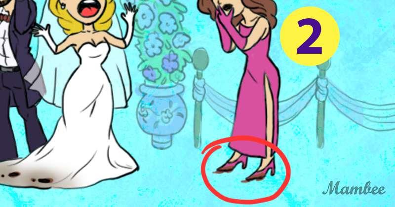 Wie aufmerksam sind Sie: Können Sie sagen, wer das Kleid der Braut verdorben hat?Wie aufmerksam sind Sie: Können Sie sagen, wer das Kleid der Braut verdorben hat?