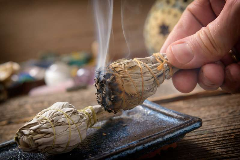 Burning sage smudging smoke
