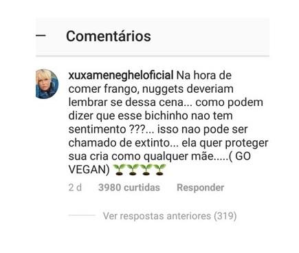 Comentário de Xuxa