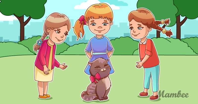 Casse-tête : laquelle de ces petites filles est la maîtresse de cet adorable chat ?puzzle to attention, riddle to find cat's owner, riddle about cat's owner