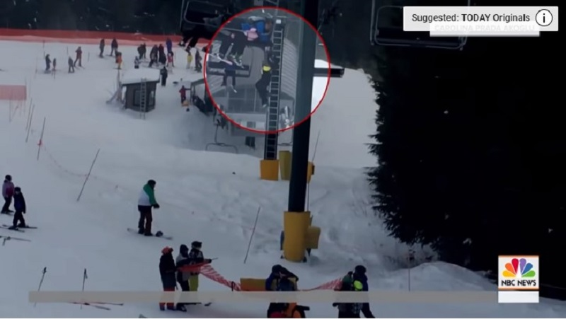 Quick Thinking Teenagers See Little Boy Dangling From A Ski Lift And Rushed To The Rescue