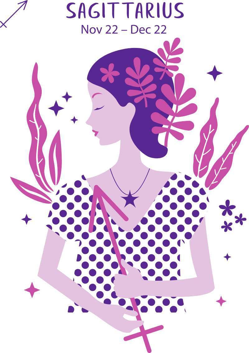 Messieurs, faites attention ! Voici le classement des femmes les plus dangereuses selon leur signe du zodiaque.Sagittarius zodiac sign. Girl vector illustration.