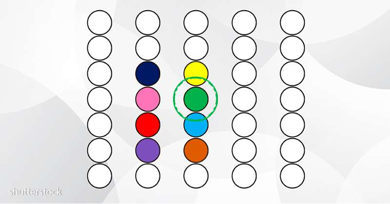 Êtes-vous assez concentré ? Pouvez-vous déterminer quelle couleur est au milieu ?