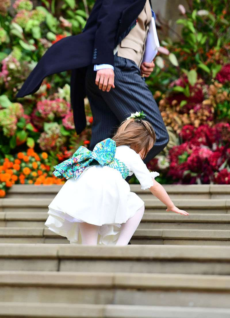 Problem With The Ring, Naughty Children, The Bride's Radiant Smile, And Other Memorable Moments From Princess Eugenie's Weddingprincess charlotte falls