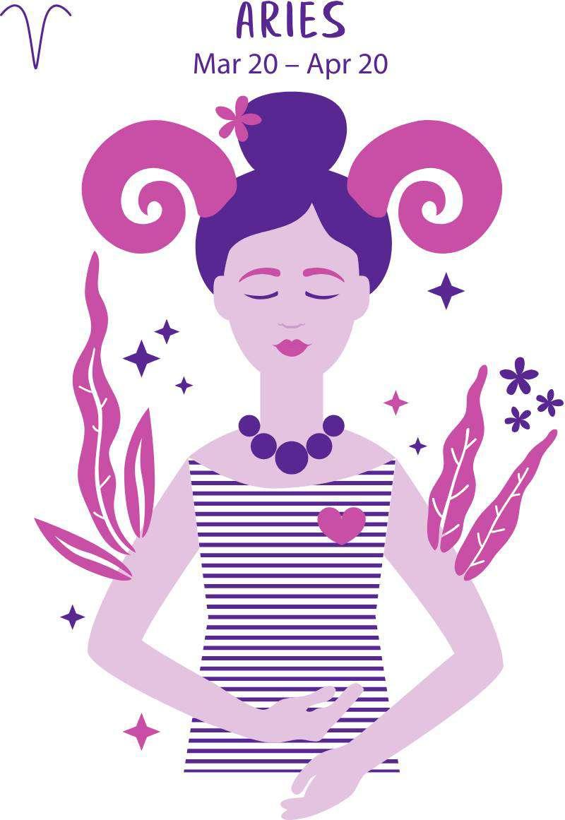 За какого мужчину не стоит выходить замуж, исходя из вашего знака зодиака?Aries zodiac sign. Girl vector illustration