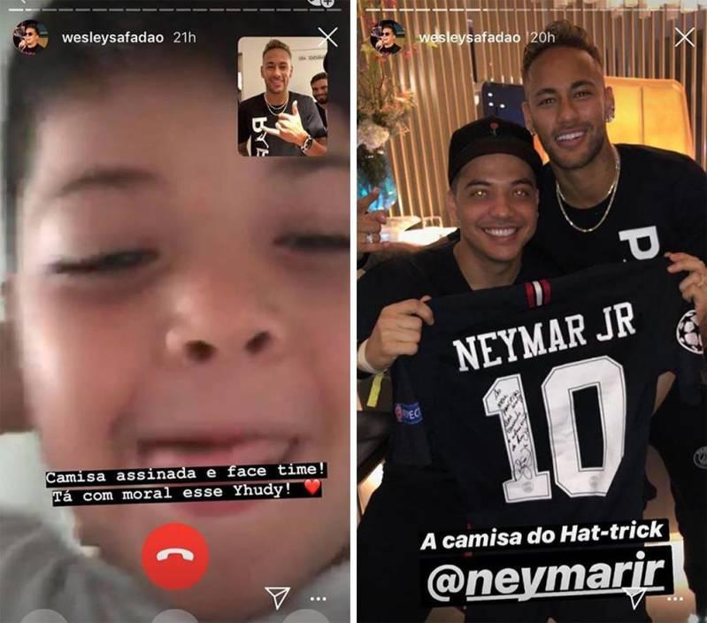 Wesley Safadão coloca o filho para falar com Neymar e o menino se emociona com a surpresa do craque