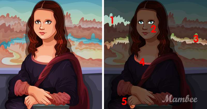 There Are 5 Differences Between These Mona Lisa Images. Can You Find Them?find the difference
