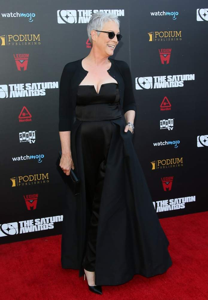 Jamie Lee Curtis Stunned The Public As She Was Wearing A Mesmerising Black Satin Pantsuit With A Low-Cut Bustier