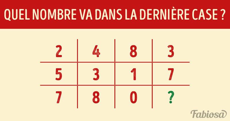 Énigme logique : quel nombre devrait remplacer le point d'interrogation ?